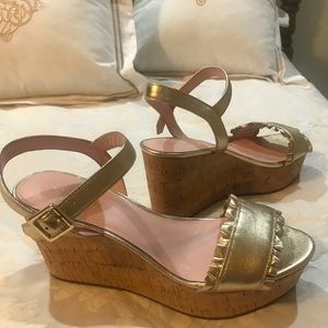 BRAND NEW: Kate Spade Gold Wedge Heels